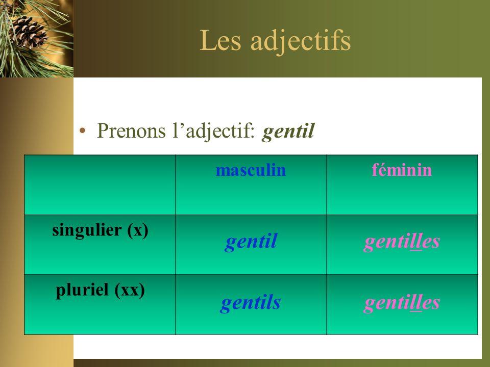 Les adjectifs Prenons ladjectif: gentil masculinféminin singulier (x) pluriel (xx) gentilgentilles gentilsgentilles