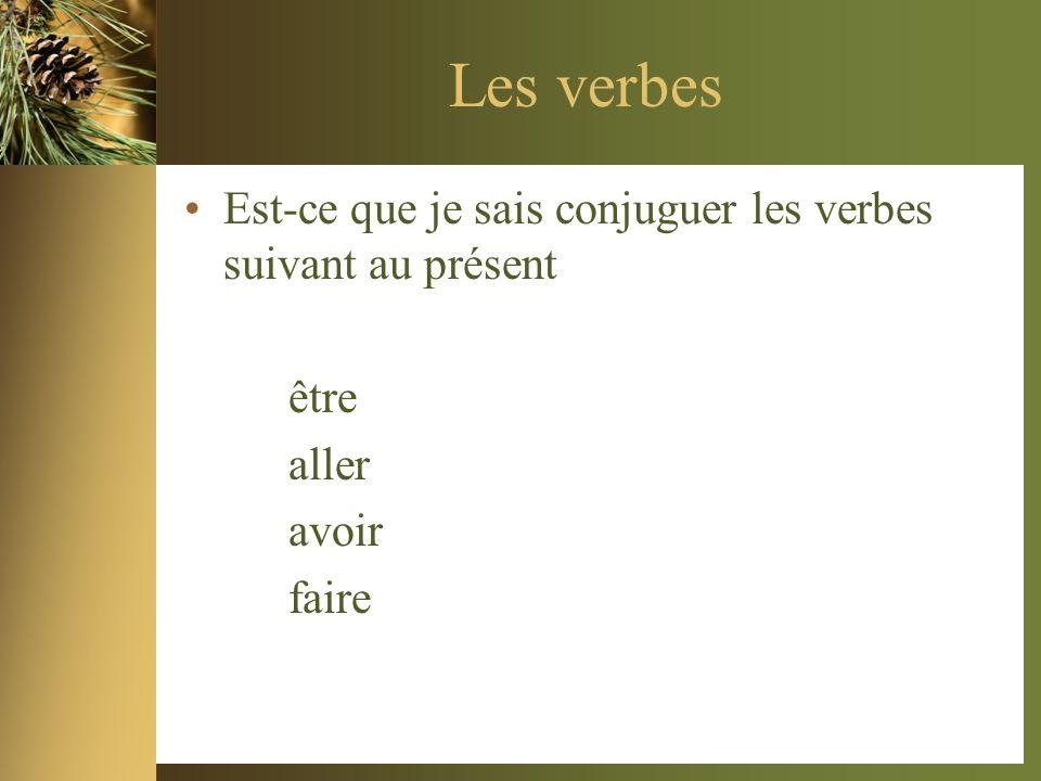 Les verbes Est-ce que je sais conjuguer les verbes suivant au présent être aller avoir faire