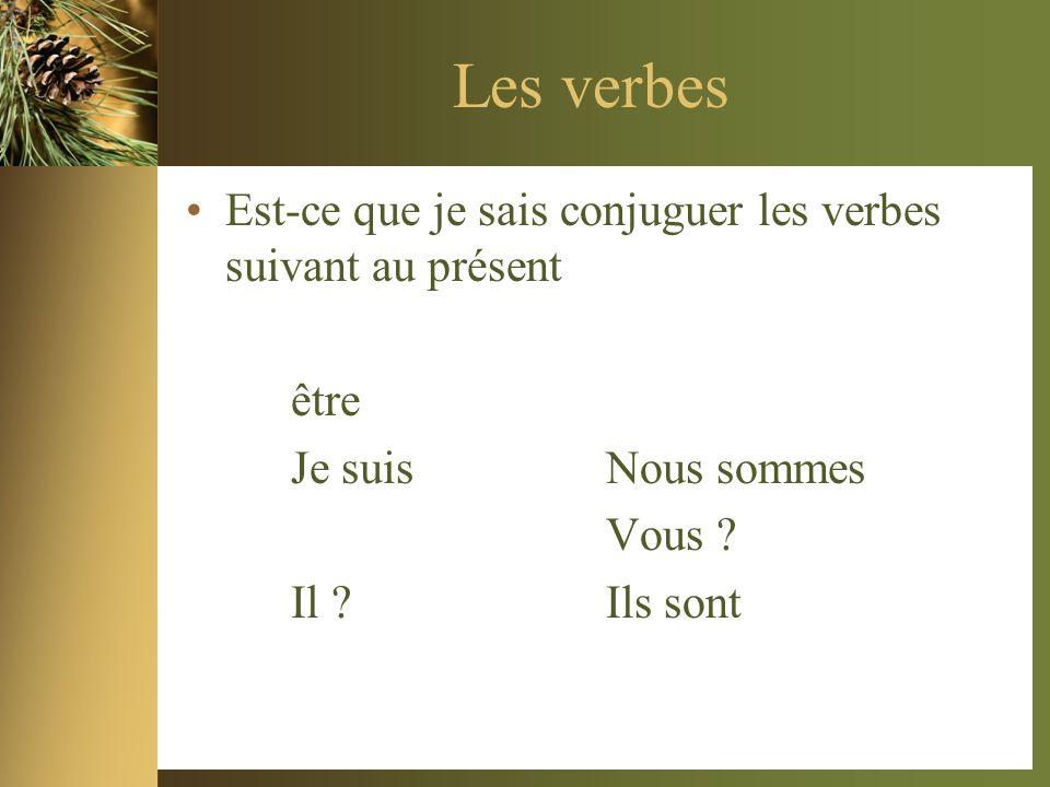 Les verbes Est-ce que je sais conjuguer les verbes suivant au présent être Je suis Nous sommes Vous .