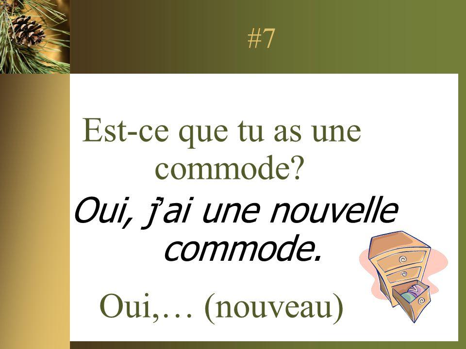 #7 Est-ce que tu as une commode? Oui,… (nouveau) Oui, jai une nouvelle commode.