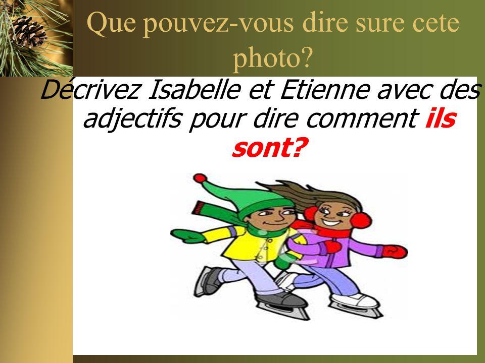 Que pouvez-vous dire sure cete photo? Décrivez Isabelle et Etienne avec des adjectifs pour dire comment ils sont?