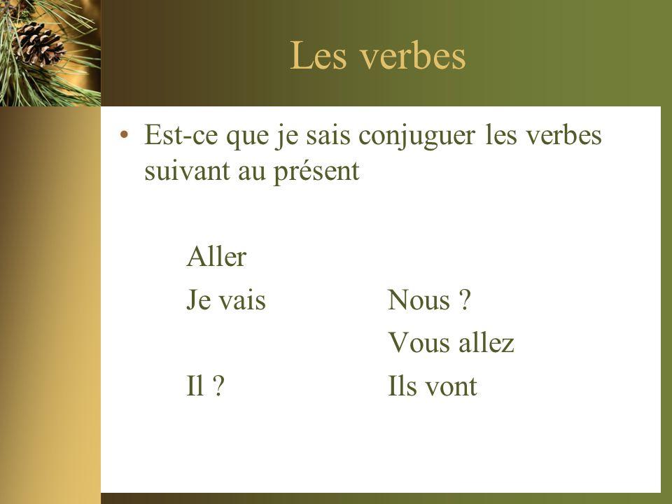 Les verbes Est-ce que je sais conjuguer les verbes suivant au présent Aller Je vais Nous ? Vous allez Il ?Ils vont