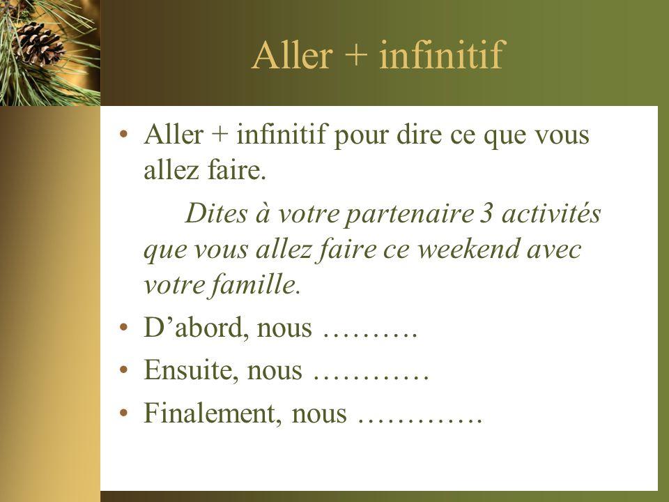 Aller + infinitif Aller + infinitif pour dire ce que vous allez faire. Dites à votre partenaire 3 activités que vous allez faire ce weekend avec votre
