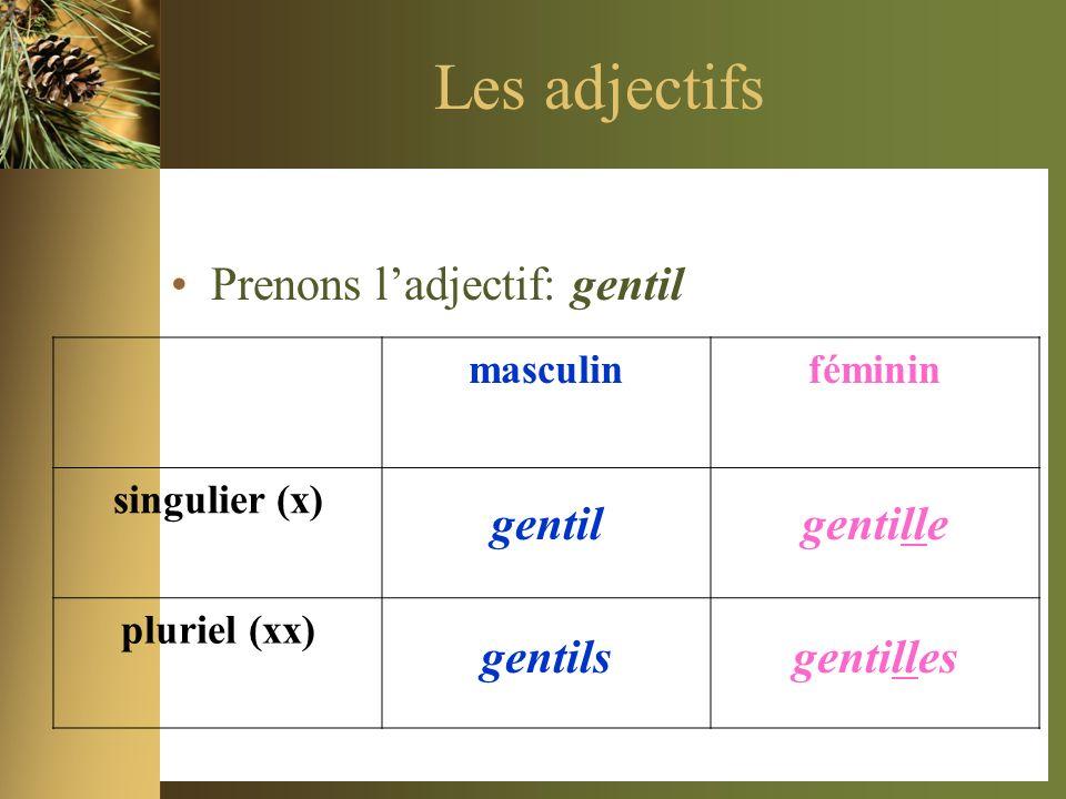 Les adjectifs Prenons ladjectif: gentil masculinféminin singulier (x) pluriel (xx) gentilgentille gentilsgentilles