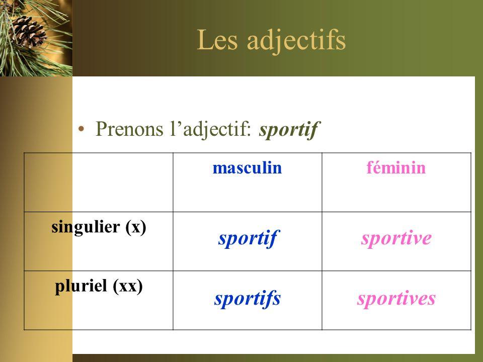 Les adjectifs Prenons ladjectif: sportif masculinféminin singulier (x) pluriel (xx) sportifsportive sportifssportives