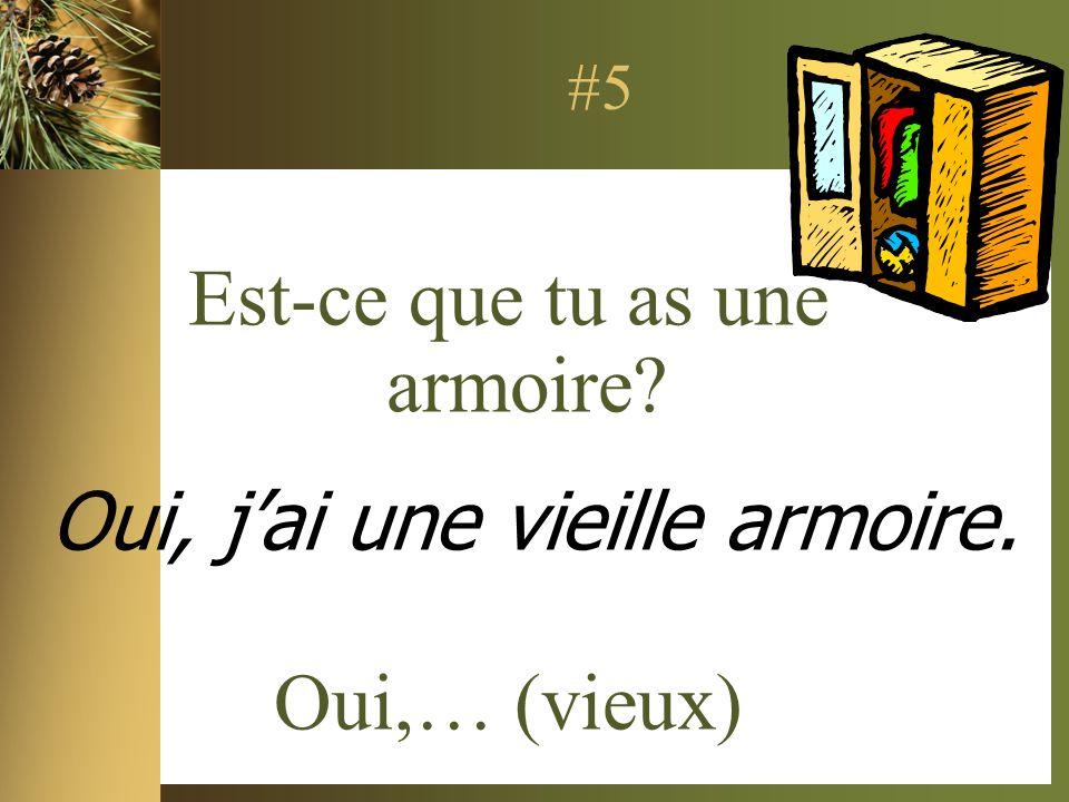 #5 Est-ce que tu as une armoire Oui,… (vieux) Oui, jai une vieille armoire.