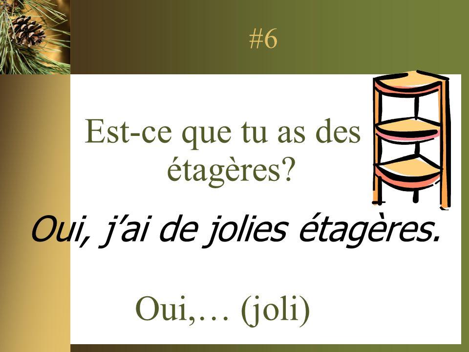 #6 Est-ce que tu as des étagères Oui,… (joli) Oui, jai de jolies étagères.