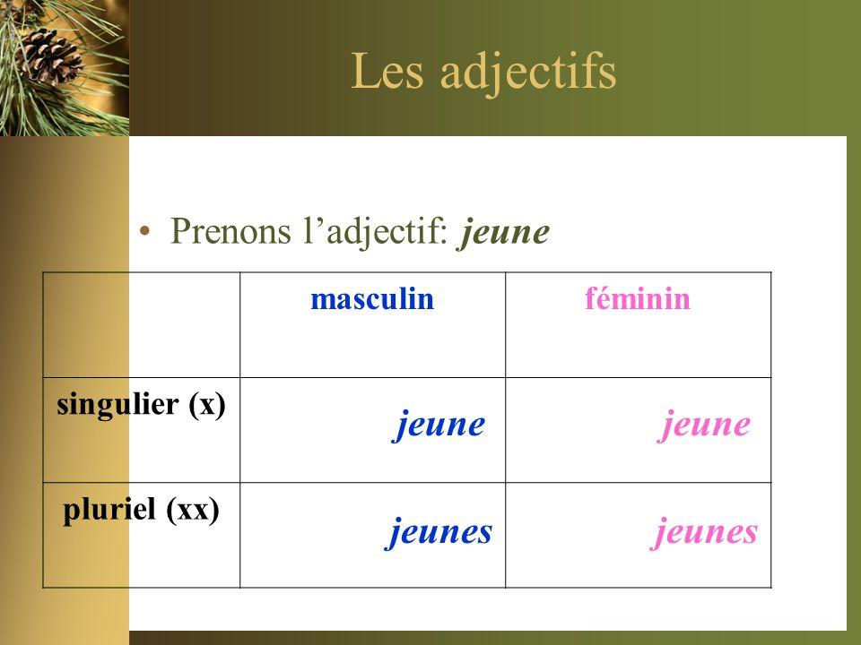 Les adjectifs Prenons ladjectif: jeune masculinféminin singulier (x) pluriel (xx) jeune jeunes