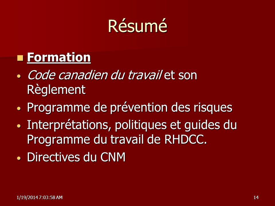 1/19/2014 7:05:34 AM1/19/2014 7:05:34 AM1/19/2014 7:05:34 AM14 Résumé Formation Formation Code canadien du travail et son Règlement Code canadien du travail et son Règlement Programme de prévention des risques Programme de prévention des risques Interprétations, politiques et guides du Programme du travail de RHDCC.