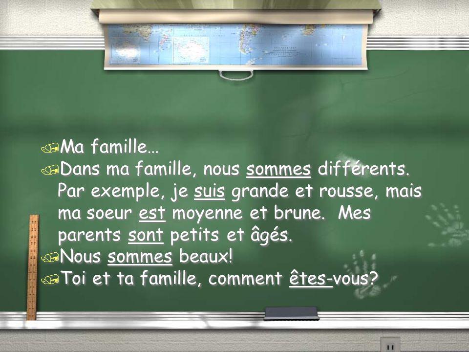 / Ma famille… / Dans ma famille, nous sommes différents.