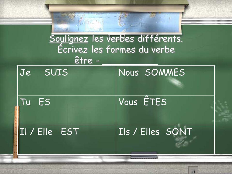 Soulignez les verbes différents.