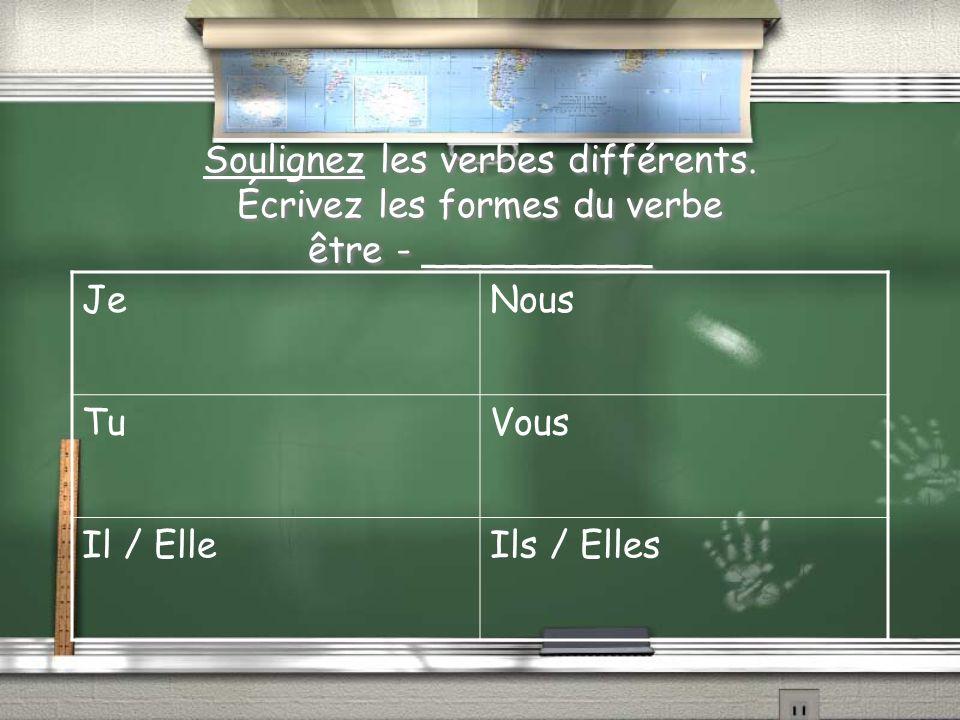 Soulignez les verbes différents. Écrivez les formes du verbe être - __________ JeNous TuVous Il / ElleIls / Elles