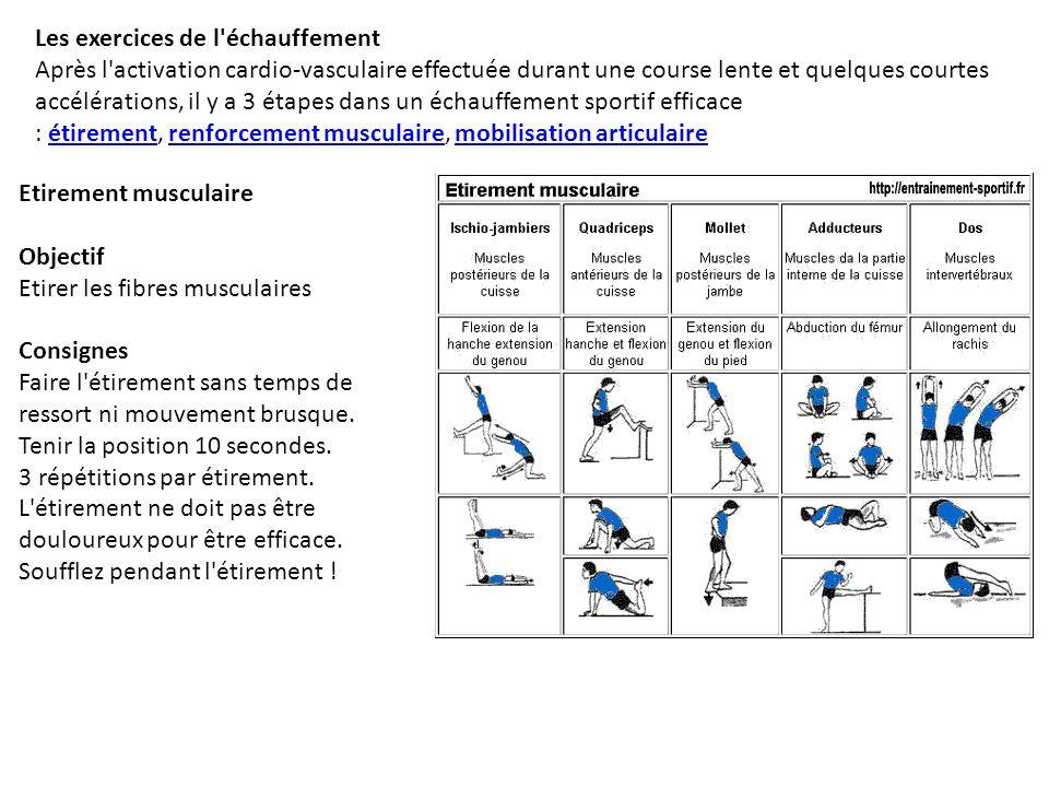 Les exercices de l'échauffement Après l'activation cardio-vasculaire effectuée durant une course lente et quelques courtes accélérations, il y a 3 éta