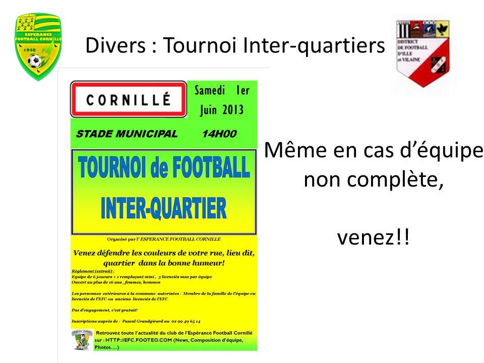 Divers : Tournoi Inter-quartiers Même en cas déquipe non complète, venez!!
