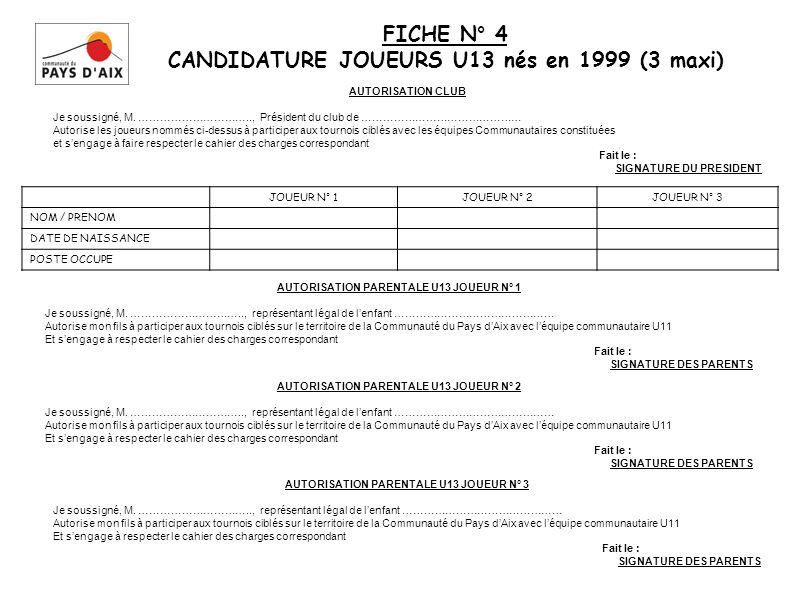 FICHE N° 4 CANDIDATURE JOUEURS U13 nés en 1999 (3 maxi) JOUEUR N° 1JOUEUR N° 2JOUEUR N° 3 NOM / PRENOM DATE DE NAISSANCE POSTE OCCUPE AUTORISATION PARENTALE U13 JOUEUR N° 1 Je soussigné, M.