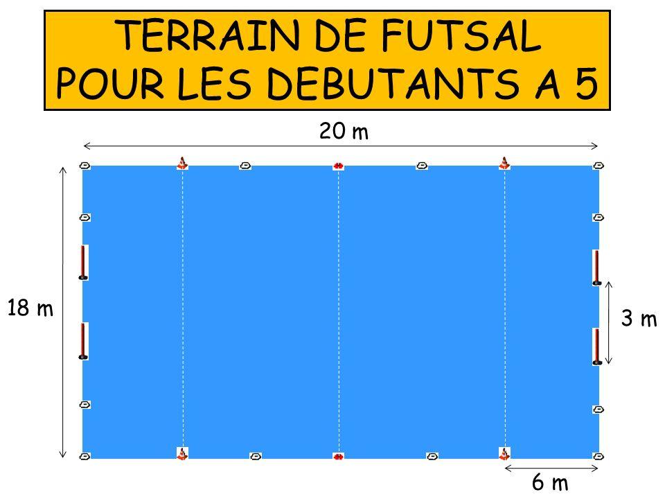 TERRAIN DE FUTSAL POUR LES DEBUTANTS A 5 20 m 18 m 3 m 6 m