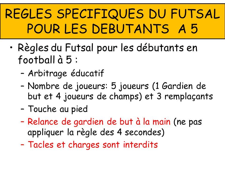Règles du Futsal pour les débutants en football à 5 : –Arbitrage éducatif –Nombre de joueurs: 5 joueurs (1 Gardien de but et 4 joueurs de champs) et 3