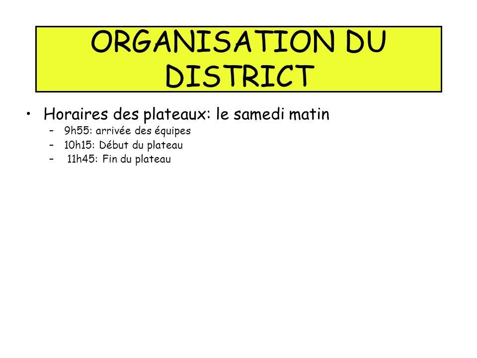 ORGANISATION DU DISTRICT Horaires des plateaux: le samedi matin –9h55: arrivée des équipes –10h15: Début du plateau – 11h45: Fin du plateau