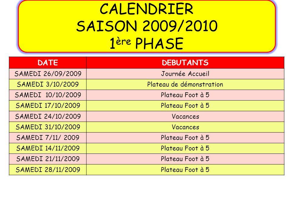 DATEDEBUTANTS SAMEDI 26/09/2009Journée Accueil SAMEDI 3/10/2009Plateau de démonstration SAMEDI 10/10/2009Plateau Foot à 5 SAMEDI 17/10/2009Plateau Foo