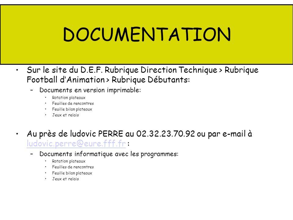 DOCUMENTATION Sur le site du D.E.F. Rubrique Direction Technique > Rubrique Football dAnimation > Rubrique Débutants: –Documents en version imprimable