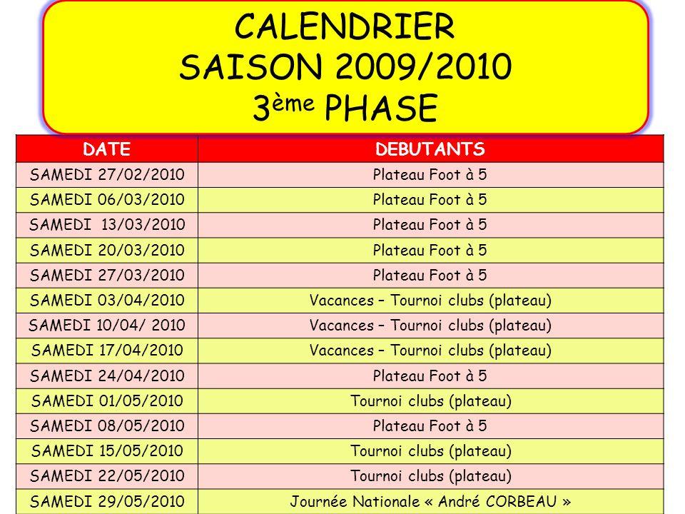 DATEDEBUTANTS SAMEDI 27/02/2010Plateau Foot à 5 SAMEDI 06/03/2010Plateau Foot à 5 SAMEDI 13/03/2010Plateau Foot à 5 SAMEDI 20/03/2010Plateau Foot à 5