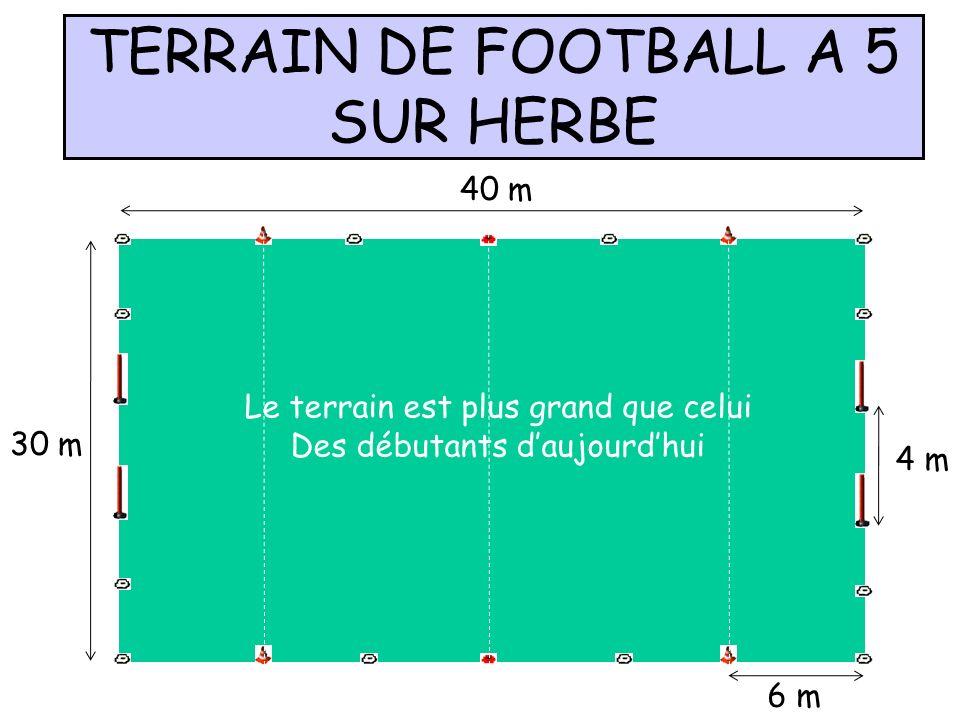 TERRAIN DE FOOTBALL A 5 SUR HERBE 40 m 30 m 4 m 6 m Le terrain est plus grand que celui Des débutants daujourdhui