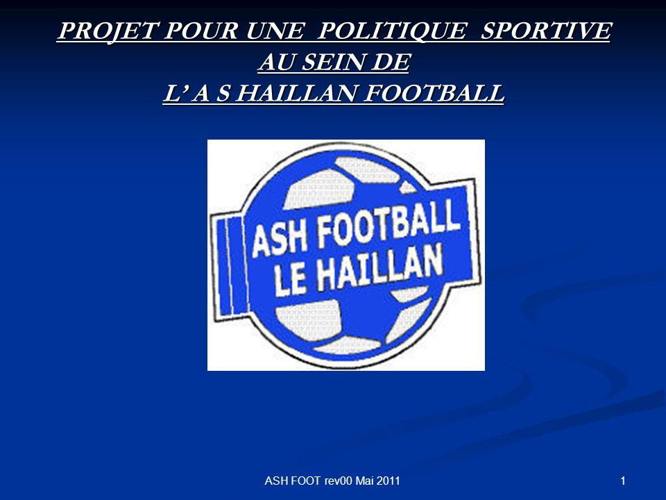 1 PROJET POUR UNE POLITIQUE SPORTIVE AU SEIN DE L A S HAILLAN FOOTBALL ASH FOOT rev00 Mai 2011