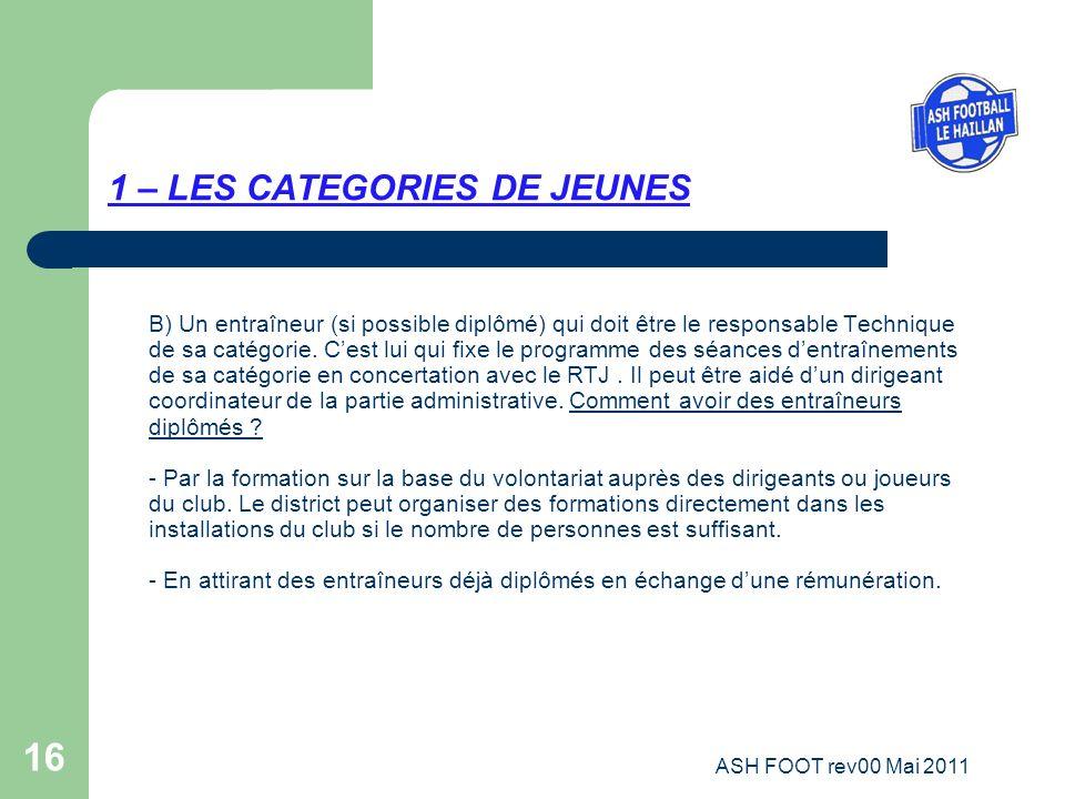 16 1 – LES CATEGORIES DE JEUNES B) Un entraîneur (si possible diplômé) qui doit être le responsable Technique de sa catégorie. Cest lui qui fixe le pr