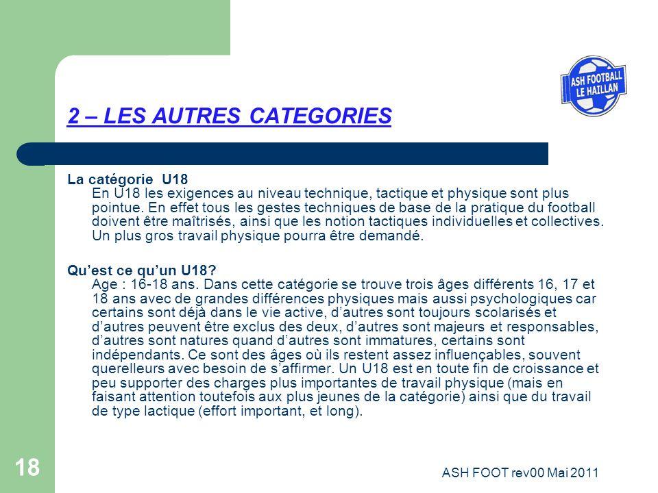 18 2 – LES AUTRES CATEGORIES La catégorie U18 En U18 les exigences au niveau technique, tactique et physique sont plus pointue. En effet tous les gest
