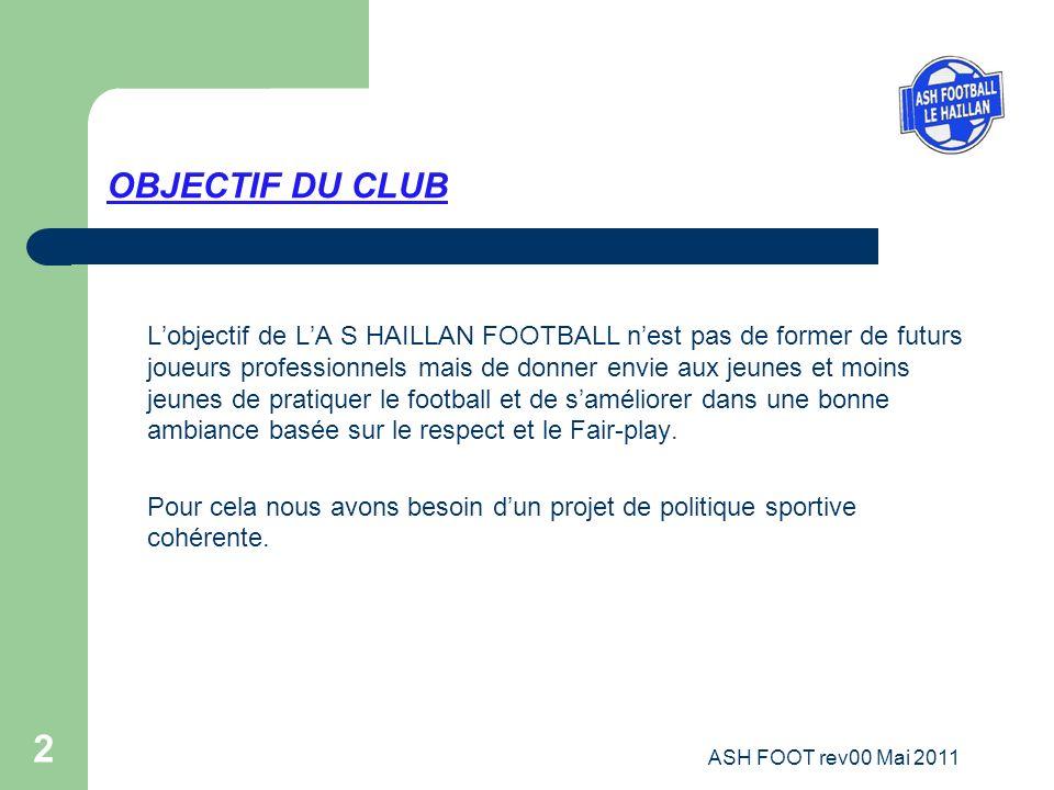 2 OBJECTIF DU CLUB Lobjectif de LA S HAILLAN FOOTBALL nest pas de former de futurs joueurs professionnels mais de donner envie aux jeunes et moins jeu