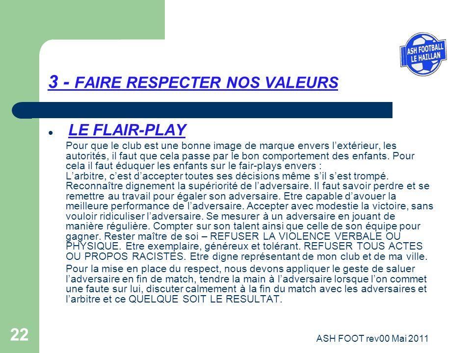 22 3 - FAIRE RESPECTER NOS VALEURS LE FLAIR-PLAY Pour que le club est une bonne image de marque envers lextérieur, les autorités, il faut que cela pas