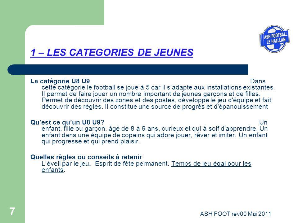7 1 – LES CATEGORIES DE JEUNES La catégorie U8 U9 Dans cette catégorie le football se joue à 5 car il sadapte aux installations existantes. Il permet