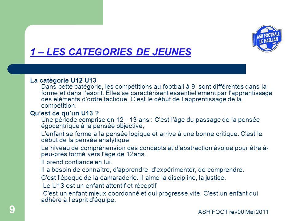 9 1 – LES CATEGORIES DE JEUNES La catégorie U12 U13 Dans cette catégorie, les compétitions au football à 9, sont différentes dans la forme et dans les