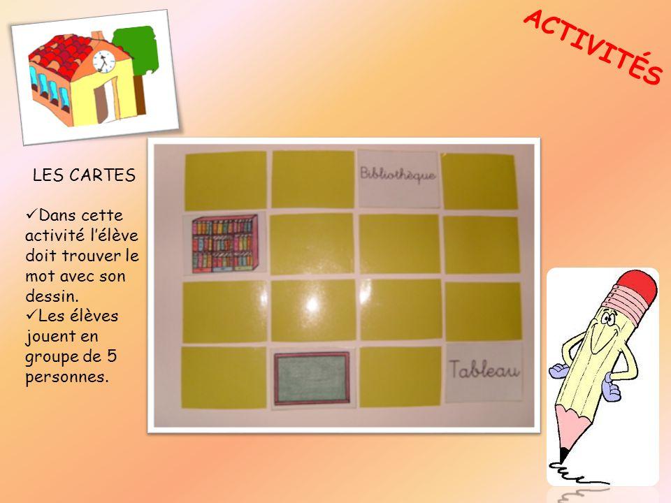 ACTIVITÉS LES CARTES Dans cette activité lélève doit trouver le mot avec son dessin. Les élèves jouent en groupe de 5 personnes.
