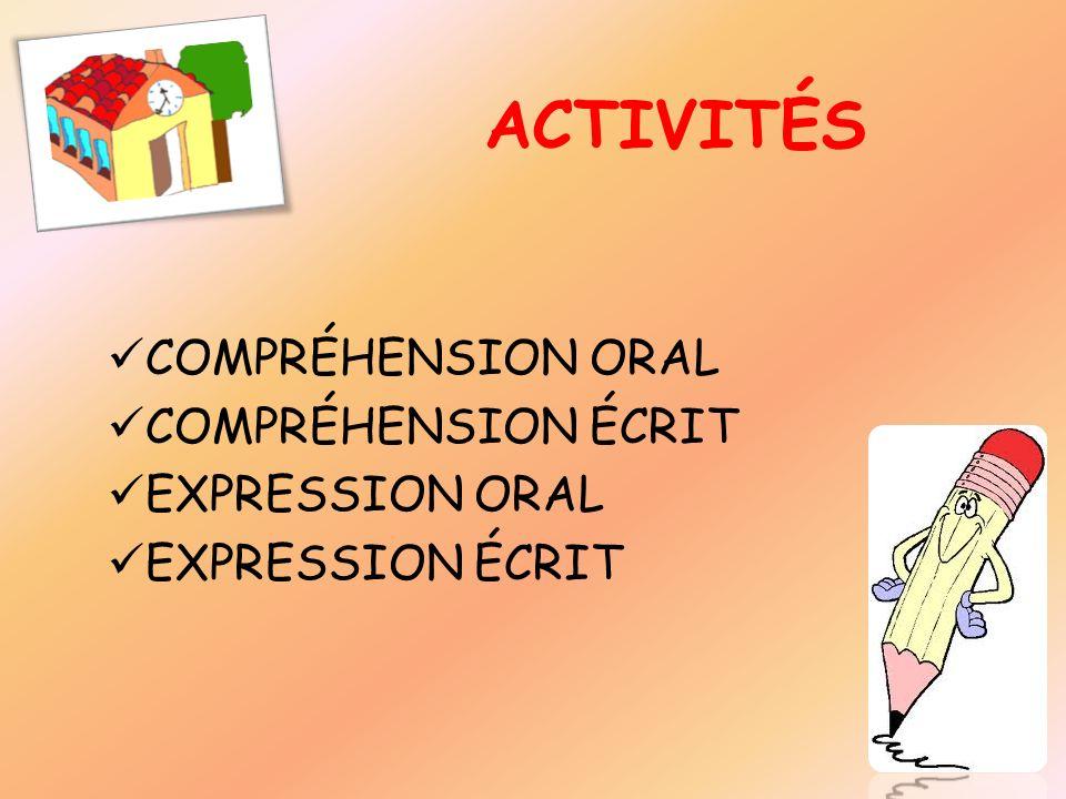 COMPRÉHENSION ORAL COMPRÉHENSION ÉCRIT EXPRESSION ORAL EXPRESSION ÉCRIT ACTIVITÉS