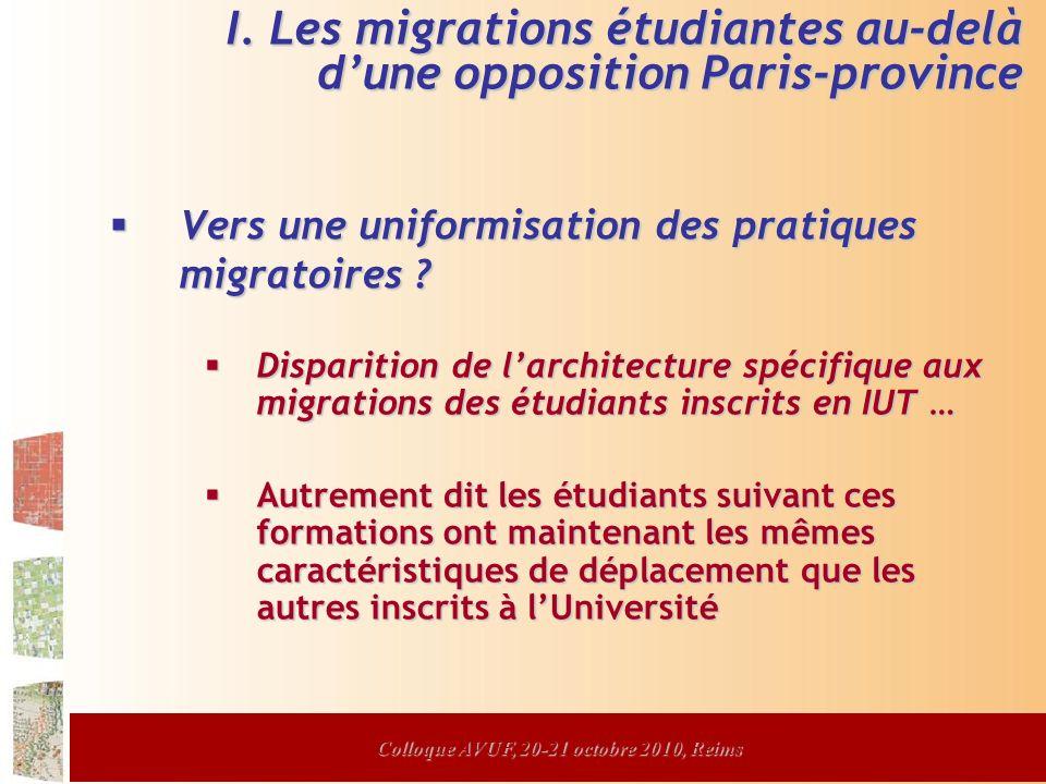 Colloque AVUF, 20-21 octobre 2010, Reims Vers une uniformisation des pratiques migratoires .