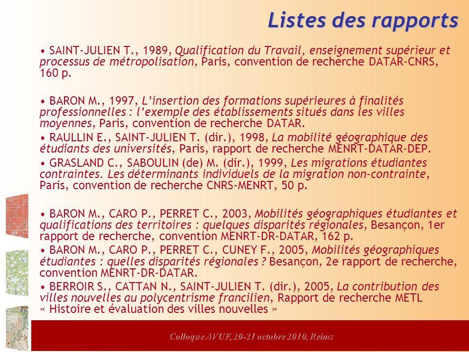 Colloque AVUF, 20-21 octobre 2010, Reims Listes des rapports SAINT-JULIEN T., 1989, Qualification du Travail, enseignement supérieur et processus de métropolisation, Paris, convention de recherche DATAR-CNRS, 160 p.