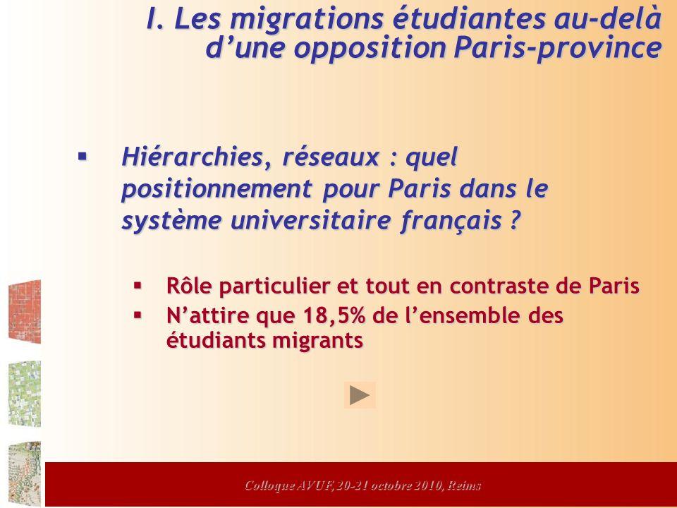Colloque AVUF, 20-21 octobre 2010, Reims Hiérarchies, réseaux : quel positionnement pour Paris dans le système universitaire français .