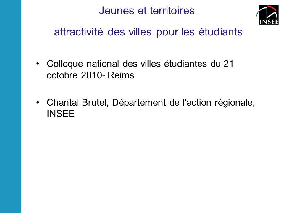 Jeunes et territoires attractivité des villes pour les étudiants Colloque national des villes étudiantes du 21 octobre 2010- Reims Chantal Brutel, Département de laction régionale, INSEE