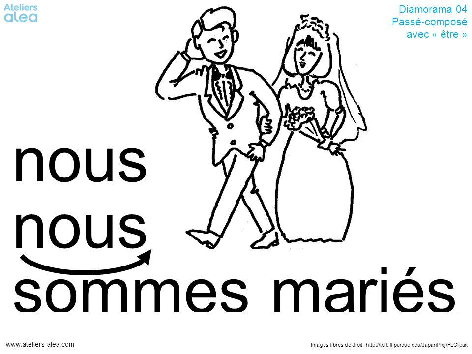 Images libres de droit : http://tell.fll.purdue.edu/JapanProj/FLClipart www.ateliers-alea.com Diamorama 04 Passé-composé avec « être » mariéssommes nous