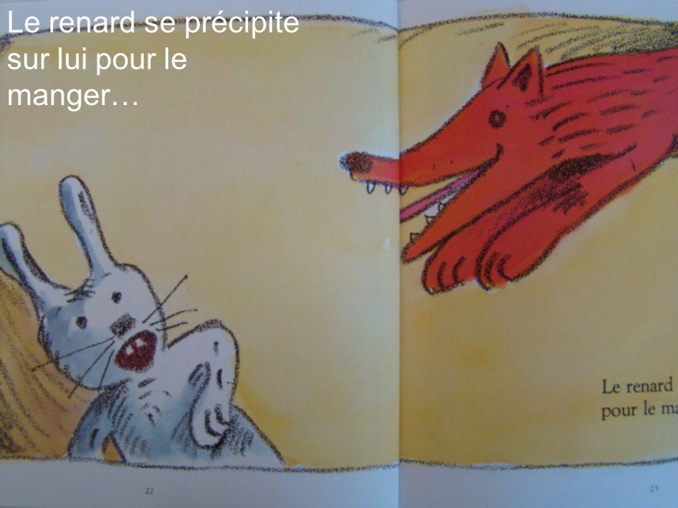 Le renard se précipite sur lui pour le manger…
