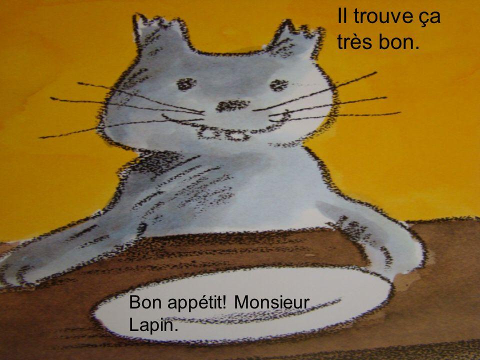 Bon appétit! Monsieur Lapin. Il trouve ça très bon.