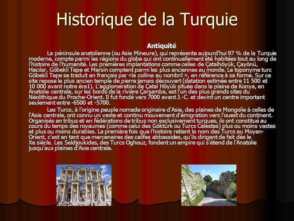 Historique de la Turquie Antiquité La péninsule anatolienne (ou Asie Mineure), qui représente aujourd'hui 97 % de la Turquie moderne, compte parmi les