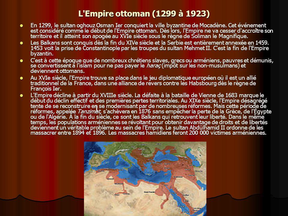 L'Empire ottoman (1299 à 1923) En 1299, le sultan oghouz Osman Ier conquiert la ville byzantine de Mocadène. Cet événement est considéré comme le débu