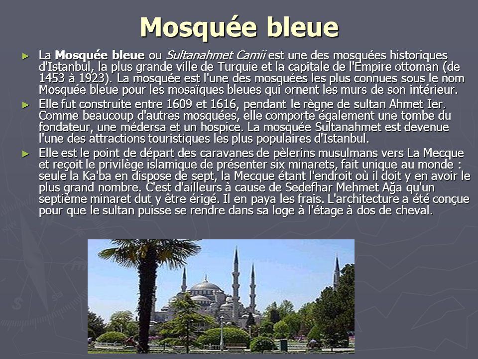 Mosquée bleue La Mosquée bleue ou Sultanahmet Camii est une des mosquées historiques d'Istanbul, la plus grande ville de Turquie et la capitale de l'E
