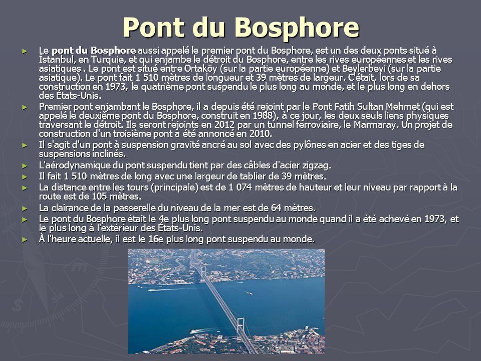 Pont du Bosphore Le pont du Bosphore aussi appelé le premier pont du Bosphore, est un des deux ponts situé à İstanbul, en Turquie, et qui enjambe le d