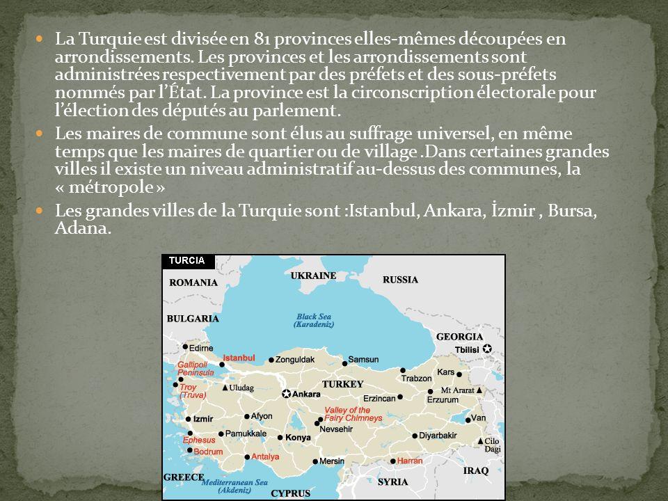 La Turquie est divisée en 81 provinces elles-mêmes découpées en arrondissements. Les provinces et les arrondissements sont administrées respectivement