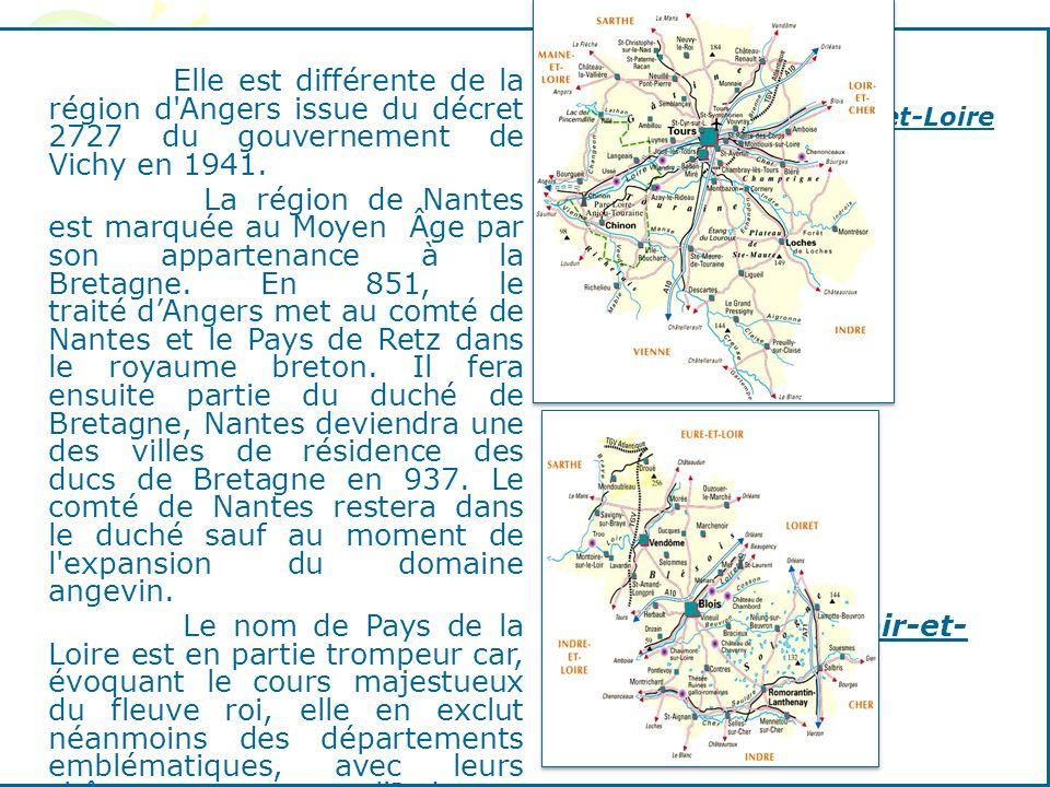 Elle est différente de la région d'Angers issue du décret 2727 du gouvernement de Vichy en 1941. La région de Nantes est marquée au Moyen Âge par son