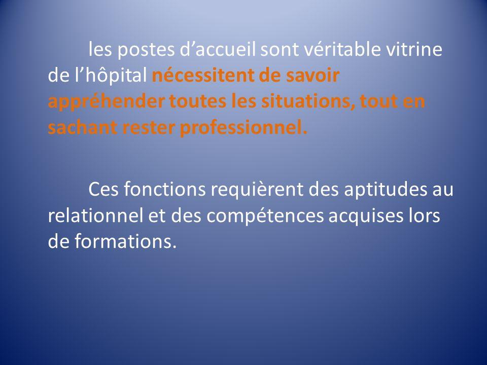 les postes daccueil sont véritable vitrine de lhôpital nécessitent de savoir appréhender toutes les situations, tout en sachant rester professionnel.