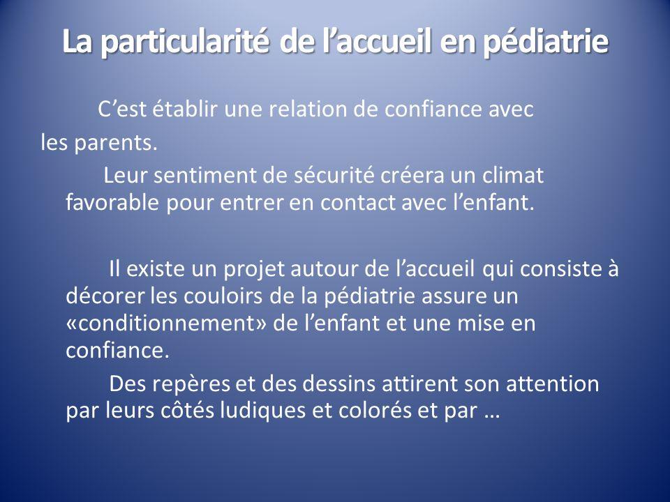 La particularité de laccueil en pédiatrie Cest établir une relation de confiance avec les parents. Leur sentiment de sécurité créera un climat favorab